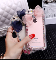 Luxo 3D Bling Rhinestone Bow Flower Phone Case para iPhone 4 5s 6 6s Plus 7 Plus Tampa para Samsung S3 S4 S5 mini S6 S7 Nota 2 3 4 5 7