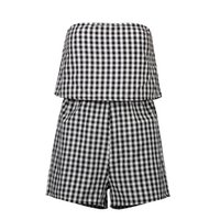 Polyester,Cotton outfits short boots - Off shoulder lattice elegant jumpsuit romper backless overalls Sexy summer Casual beach Micro Boot Cut Elastic Waist outfit DI7501