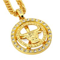 """Wholesale Bulls Hip Hop Necklace - Gold-Tone Hip Hop Bling Jewelry Whirligig Spin Bull Pendant Necklaces Paved Clear Rhinestone Fashion Ox-Head Charm Necklace 31"""""""