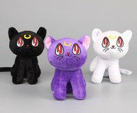 "Wholesale Sailor Moon Cats Stuffed Animals - 3 Colors 6.5"" 17CM Anime Sailor Moon Cat Luna Artemis Plush Toy Soft Stuffed Dolls For Child Gifts"