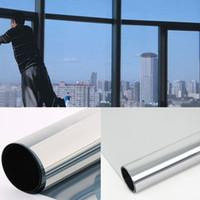 pegatinas adhesivas de espejo al por mayor-Películas de vidrio Privacidad Etiqueta de la película de plata Una forma de aislamiento de calor con reflejo Protección solar Protector solar opaco autoadhesivo