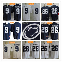 Wholesale Navy Kids Shorts - Youth Penn State Nittany Lions #26 Saquon Barkley 9 Trace McSorley Kids B1G No Name Navy Blue White College Football Stitched Jerseys S-XL