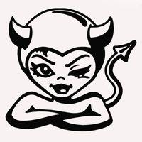 lastwagen heckscheibenabziehbilder großhandel-9 Farben Nette Frau Teufel Monster Crooked Smile Lustige Auto Aufkleber für Lkw SUV Fenster Auto Tür Kajak Humor Vinyl Aufkleber JDM