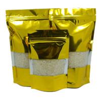 Wholesale Valve Windows - 100Pcs  Lot 10*15cm Clear Golden Storage Aluminum Foil Valve Pouch With Window Coffee Tea Stand Up Heat Seal Mylar Pack Bag