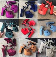 Wholesale Purple Velvet High Heel Shoes - 2017 New Velvet Genuine Leather Butterfly Knot Women Summer Sandals 13CM Super HIgh Heel Women Pumps Shoes Women Size 35-41