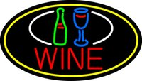 "Wholesale Lighted Bottle Display - Wine Bottle Glass Oval Border Neon Sign Custom Handmade Real Glass Tube Beer Bar KTV Club Store Display Neon Signs Light 17""X14"""