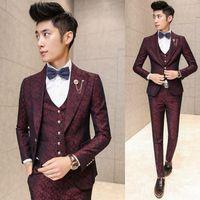 Wholesale Korean Wedding Suits For Men - Prom Men Suit With Pants Red Floral Jacquard Wedding Suits for Men 3 pieces   Set (Jacket+Vest+Pants) Korean Slim Fit Dress