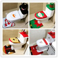 Wholesale Bathroom Cheap - 4 Styles Cheap 2017 Merry Christmas Decoration Santa Elk Elf Toilet Seat Cover Rug Hotel Bathroom Set Best Xmas Decorations Gifts Free DHL
