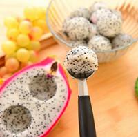 ingrosso doppio ballerino di melone-New Stainless Steel Frutta Scoop Double-end Melone Baller Gelato Dessert Sorbetto Scoops Accessori Da Cucina Utensili Da Cucina G417