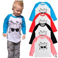 Wholesale Wholesale Kids Tees - INS Kids Clothing T shirts Cotton Rabbit Long Sleeved Boys Clothes Raglan Sunglasses Letters bottoming Kids T-shirts for Girls Tees Clothes