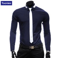 Wholesale Men S Ties Navy Red - Wholesale- Slim Fit Men Shirt with Tie Long Sleeve Shirt Black Navy Red White Cotton Casual Men Shirt Social Plush Size Brand Men Clothes