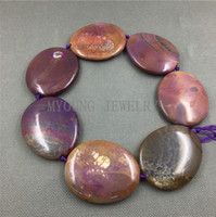 Wholesale Dragon Vein Agate Purple - MY1247 Large Dragon Veins Agates Purple Variegated Thick Flat Oval Slice Slab Beads Pendant Necklace Jewelry Making
