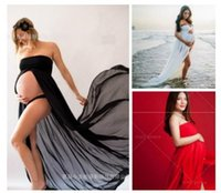 Wholesale Pregnant Women Maxi - Maternity Pregnant Woman Sexy Photography Props Maxi Dress Chiffon Long Skirts