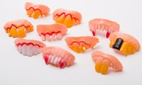 Wholesale Big Tooth Costume - Hot Joke Teeth False Teeth Rotten April Fool's Day Funny Fake Teeth Dentures Halloween Prop Costume Fancy Dress Party