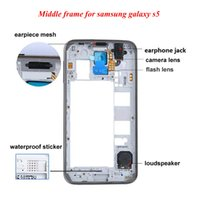 Wholesale Gold Middle Frame Bezel - OEM Middle Frame Rear Back Housing Bezel Replacement For Samsung Galaxy S5 I9600 G900 G900A G900T G900P G900V G900F Silver Gold