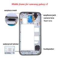 galaxy s5 orta çerçeve toptan satış-OEM Orta Çerçeve Arka Arka Konut Çerçeve Değiştirme Samsung Galaxy S5 I9600 G900 G900A G900T G900P G900V G900F Gümüş Altın