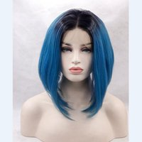 Wholesale Blue Baby Wig - Bob Straight Glueless Lace Front Wig Baby Hair Middle Part 12-16inch glueless lace wig combs&straps