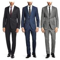 Wholesale work jacket dress - Wholesale- New Customized business men's dress suit slim men's party dress suit to work business wear Formal dress (jacket+ pants + tie )