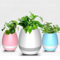 bluetooth luz led inteligente al por mayor-MJJC Smart Music Flowerport Altavoces Bluetooth con LED Multicolor luz Planta Interacción para teléfonos inteligentes (sin plantas)