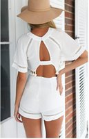 traje de verano blanco para mujer al por mayor-Verano para mujer Celeb Sexy Mini Playsuit Damas mono Shorts estilo de playa para mujer Sexy Hallow Out White Bodycon traje de fiesta ropa de mujer
