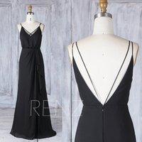 Wholesale Asymmetric Chiffon Prom Dresses - 2017 Black Chiffon Bridesmaid Dress,V Neck Spaghetti Strap Wedding Dress,V Back Prom Dress, Asymmetric Ruffled Skirt Ball Gown Floor