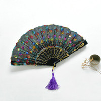 Wholesale Tang China Wholesale - 2017 Colorful Ladies Chinese wind Embroidered Sequins Hand Flower Lace Folding Fan Wedding Party Decor Peacock fan