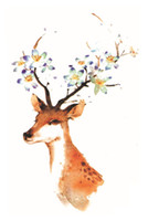 Wholesale Sexy Sticker Water Transfer Tattoo - Wholesale-2016 New Deer 3D Water Transfer Waterproof Temporary Tattoo Sticker Body Art Sexy Makeup