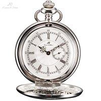 Wholesale Men Necklace Japan - KS Silver Roman Numerals Skeleton Alloy Case Japan Movement Quartz Analog Male Clock Necklace Steampunk Men Pocket Watch  KSP051