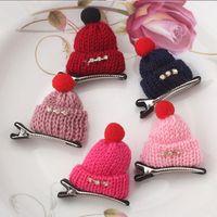 Wholesale China Children Caps - New Fashion Children Diamond Gift Cute Headwear Korean Wool Hat Hair Clips Cap Hairpins Girls Hair Accessories Women Barrettes