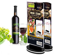 Wholesale Restaurant Menu Boards - Free shipping Rotatable acrylic restaurant Bar menu card display stand Advertising tag sign card double-sided display Desktop Billboard rack