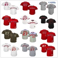 Wholesale Blue Angels - Los Angeles Angels of Anaheim #27 Mike Trout White Pull Down Red Fashion Stars Gray Beige Army Green LA Stitched MLB Baseball Jerseys Sale