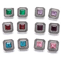Wholesale Love Square Bracelet - Vintage Noosa Chunks Square Crystal Snap Button Jewelry 12MM Snap Button With Rhinestone DIY Snap Bracelet Rings Women Men Party Gift
