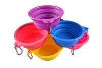 ingrosso ciotola per i gatti-Ciotola per cani pieghevole in silicone Ciotola per cani che si alimenta con acqua per cani con gancio moschettone Ciotole per cuccioli da viaggio per animali domestici 9 colori