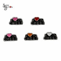 Wholesale Cheer Charms For Lockets - Wholesale 30pcs lots I Love To Cheer Floating Locket Charms Enamel Heart floating Charms for Living Memory glass lockets
