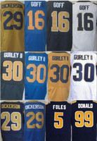 Wholesale Rugby Jersey Navy - stitched Best quatily jersey,Men's 16 Jared Goff 29 Eric Dickerson 30 Todd Gurley II 99 Aaron Donald elite jersey,Navy Blue,Light Blue