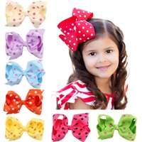 Wholesale Wholesale Large Hairbows - Large Polka Dot Spring Hair Bows, Single Boutique 4 inch polka dot hairbows in Apple Green, Orange, Red and Pink, Toddler Hair bow set.