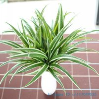 Wholesale Fake House Plants - Wholesale-1PCS Artificial Fake Plastic Green Leaves Grass Plant Home House Wedding Festival Decoration Gift F225