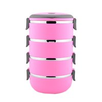 Wholesale S5Q Multilayer Stainless Steel Circular Thermal Lunch Box Bento Storage Mess Tin AAAGGU
