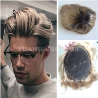Wholesale Hair Straight Man - Top Quality 1B 27 Two Tone Brazilian Virgin Hair Straight Ombre Men Hair Toupee Free Shipping