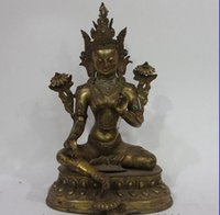 Wholesale old copper statue resale online - Tibet temple old Bronze Copper Gilt Green TaRa Guanyin Kwan yin Statue