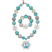 Wholesale Girl Princess Jewelry Set - Girls Elsa bead necklace 2pc set elsa snowflake pendants beaded necklace+bracelet kids frozen princess crystal rhinestone arylic jewelry set