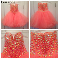Wholesale Short Hollywood Dresses - Hollywood Star Beaded Sweetheart Cute Homecoming Dress Short Sweet 16 Strapless Red Carpet Celebrity Gown A Line Tulle Skirt Lewande 21101