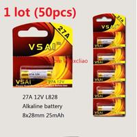 Wholesale 27a 12v battery resale online - 50pcs A V A12V V27A L828 dry alkaline battery Volt Batteries card VSAI