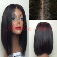 Wholesale 24 Inch Lace Wig 1b - Middle Parting Heat Resistant Hair Cheap Synthetic Short Bob Wigs #1B 12-16 Inch Silky Straight Synthetic Lace Front Wig Full Lace Wigs