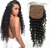 Wholesale silk top hair closure curly - Top Quality Curly Human Hair Silk Base Closure with Hidden Knots Mongolian Virgin Hair Deep Wave Silk Closure FDSHINE