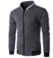 Wholesale Diamond Lattice Jacket - In the autumn and winter Men diamond lattice bump color jacket Tide male jacket zipper collar fleece coat