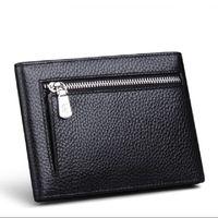 Wholesale Men Checkbook Case - Genuine Leather Wallets Men's Billfolder with Zipper Closure Short Hot Sale Cowhide Money Case with Cards Pockets
