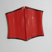 Wholesale Gummi Rubber Latex - Women Red waist latex corsets for women gummi 1mm 100% natural rubber bustier underbust plus size hot sale Customize service