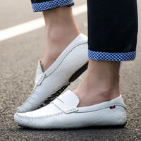 Wholesale Mens White Loafer - Men's Loafers 2016 New Fashion Sneakers Genuine Leather Mens Breathable Driving Shoes Summer Dress White Black