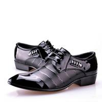 Wholesale Hot Sale Dresses For Work - 2017 new hot sale Fashion men patent leather shoes for men lacing dress shoes business formal office work shoes man oxfords wedding shoe